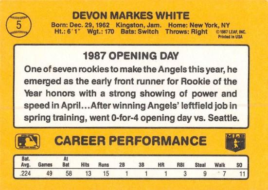 Devon White Rookie Card