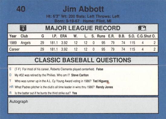 Jim Abbott Rookie Card