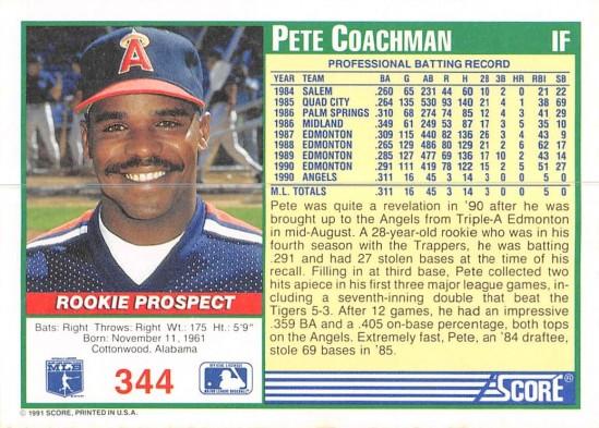 Pete Coachman Rookie Card