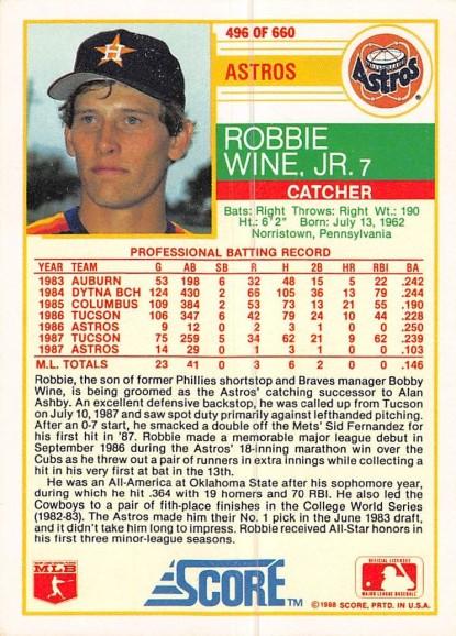 Robbie Wine Rookie Card