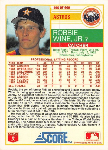 Robbie Wine Rookie Card
