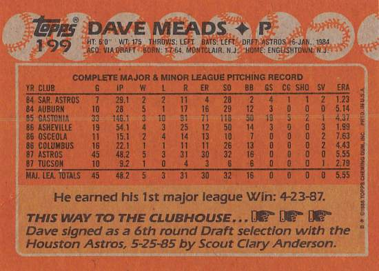 Dave Meads Rookie Card