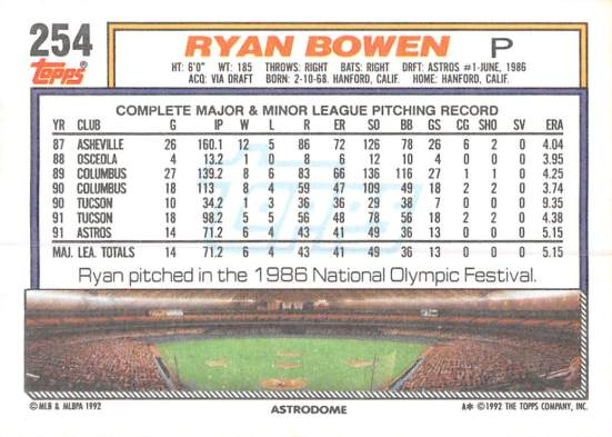 Ryan Bowen Rookie Card