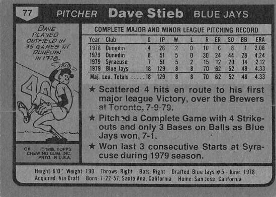 Dave Stieb Rookie Card