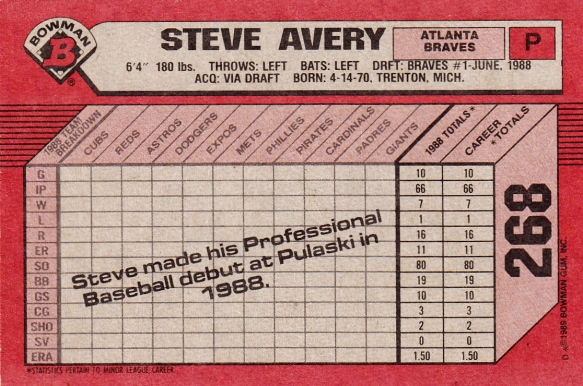RC Braves 1989 Bowman Steve Avery B