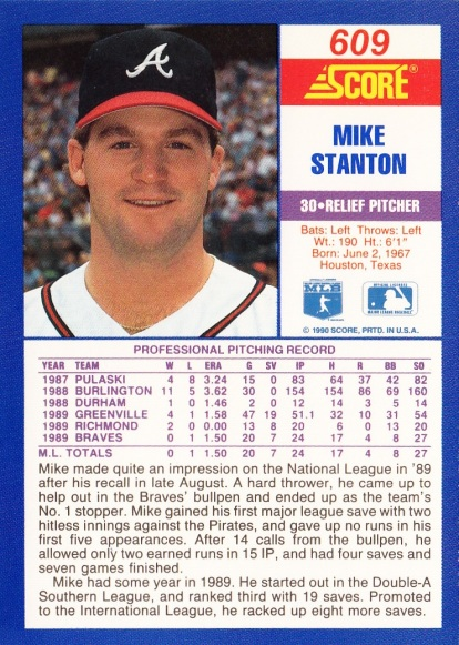 RC Braves 1990 Score Mike Stanton B
