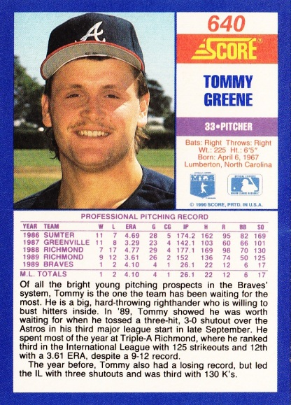 RC Braves 1990 Score Tommy Greene B