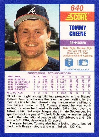 RC Braves 1990 Score Tommy Greene B