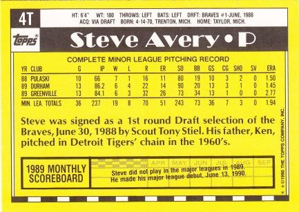 RC Braves 1990 Topps Traded Steve Avery B