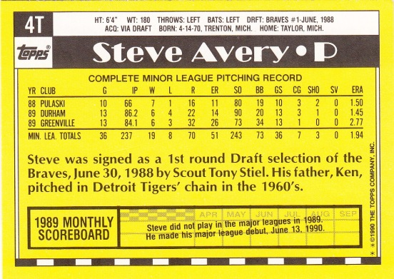 RC Braves 1990 Topps Traded Steve Avery B