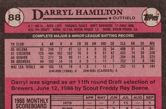 RC Brewers 1989 Topps Darryl Hamilton B