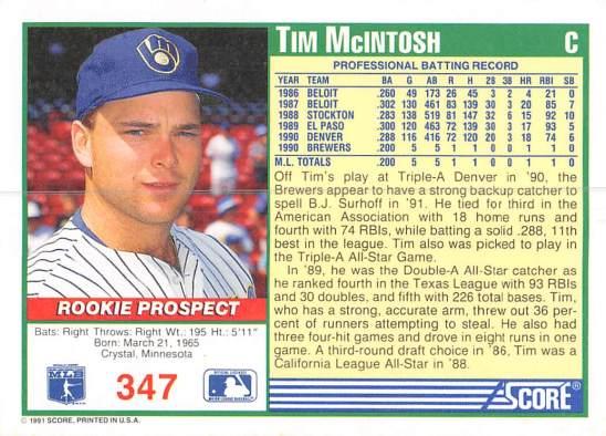 Tim McIntosh Rookie Card