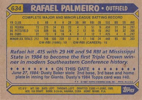 Rafael Palmeiro Rookie Card