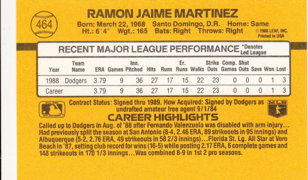 Ramon Martinez Baseball Card