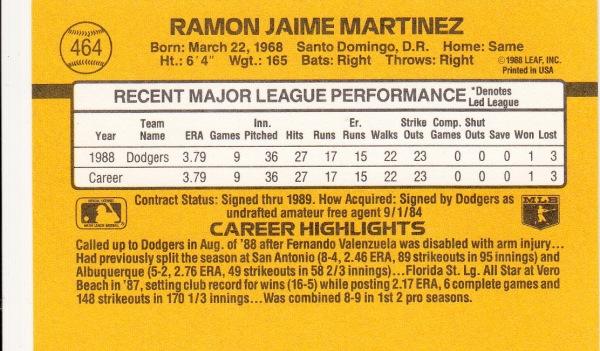 Ramon Martinez Baseball Card