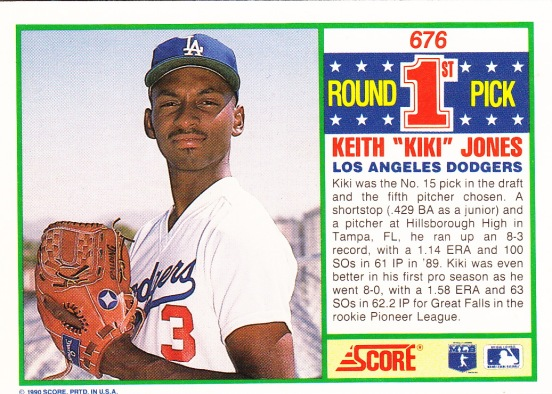 RC Dodgers 1990 Score Keith Jones FRDP B