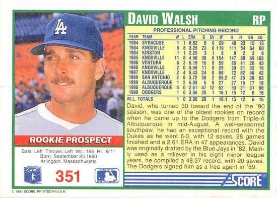 David Walsh Rookie Card