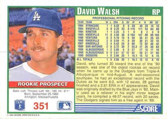 David Walsh Rookie Card