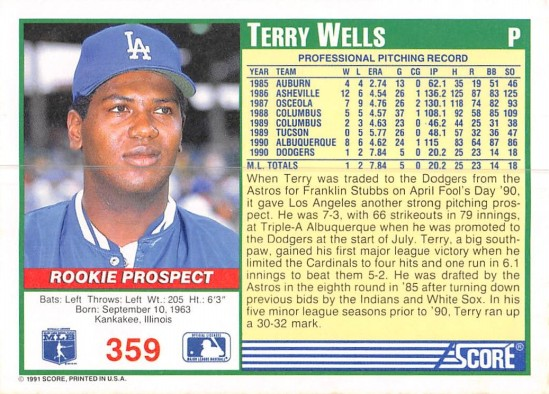 Terry Wells Rookie Card