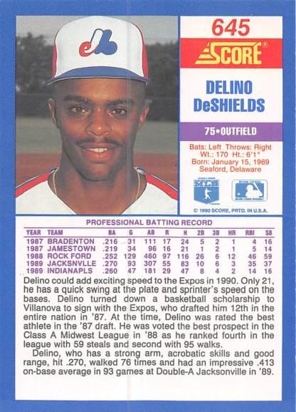 Delino DeShields Rookie Card