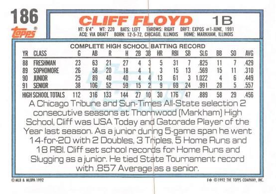 Cliff Floyd Rookie Card