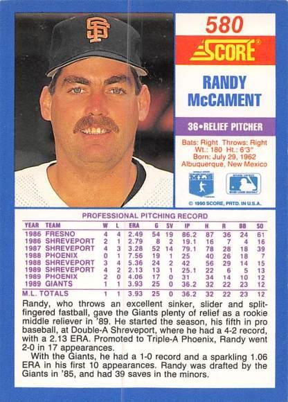 Randy McCament Rookie Card