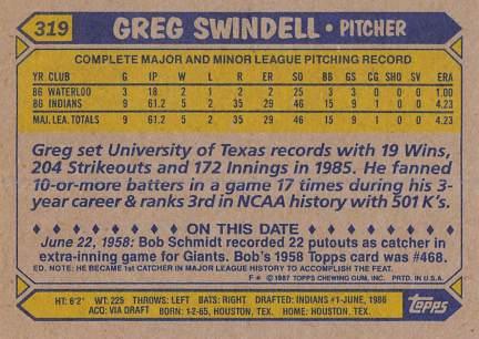 Greg Swindell Rookie Card