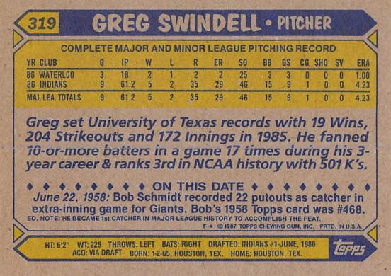 Greg Swindell Rookie Card
