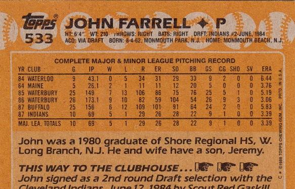 John Farrell Rookie Card