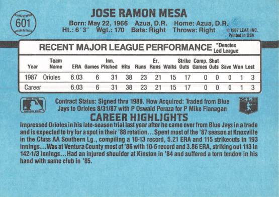 Jose Mesa Rookie Card