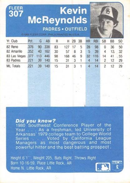 1984 Fleer Kevin McReynolds Rookie Card