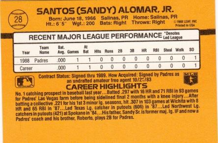 Sandy Alomar, Jr. Rookie Card