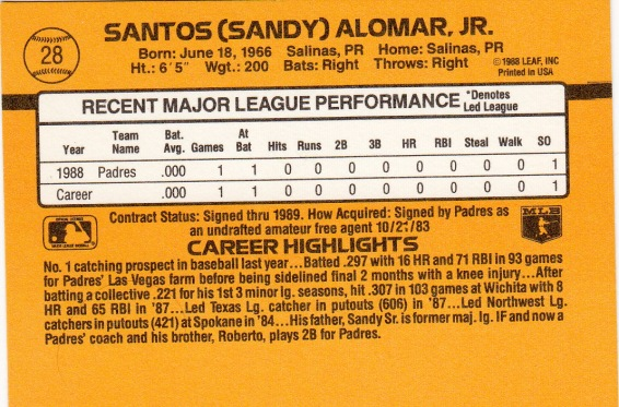 Sandy Alomar, Jr. Rookie Card