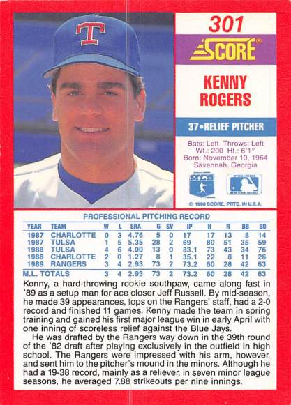 Kenny Rogers Baseball Card