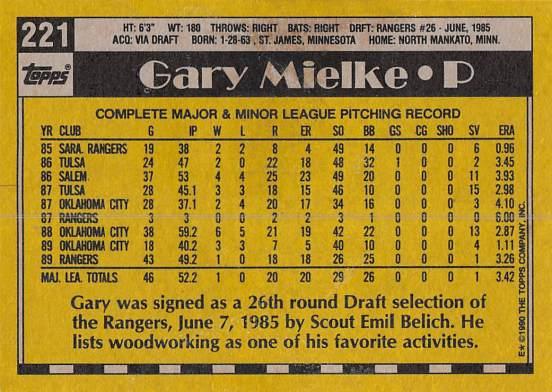 Gary Mielke Rookie Card