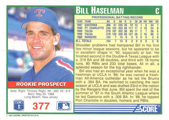 Bill Haselman Rookie Card
