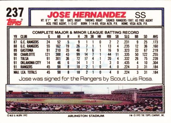 RC Rangers 1992 Topps Jose Hernandez B
