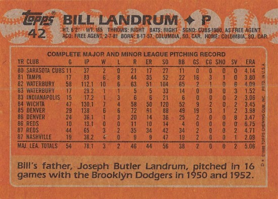 Bill Landrum Rookie Card
