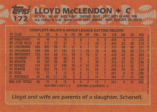 Lloyd McClendon Rookie Card