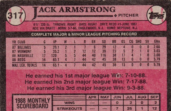 RC Reds 1989 Topps Jack Armstrong B