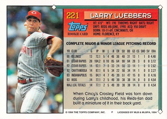 Larry Luebbers Rookie Card