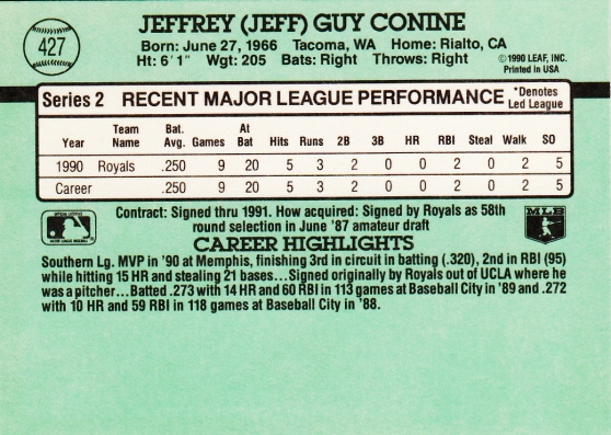 RC Royals 1991 Donruss Jeff Conine B
