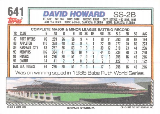 David Howard Rookie Card