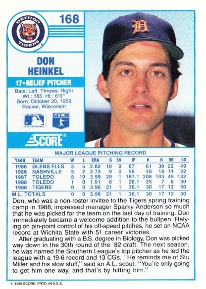 RC Tigers 1989 Score Don Heinkel B