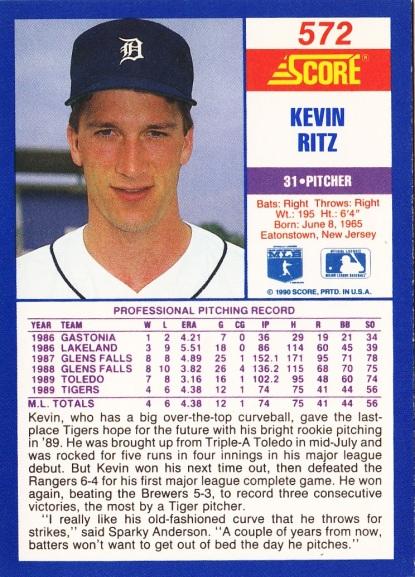 RC Tigers 1990 Score Kevin Ritz B
