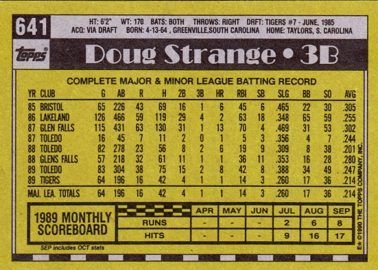 RC Tigers 1990 Topps Doug Strange B