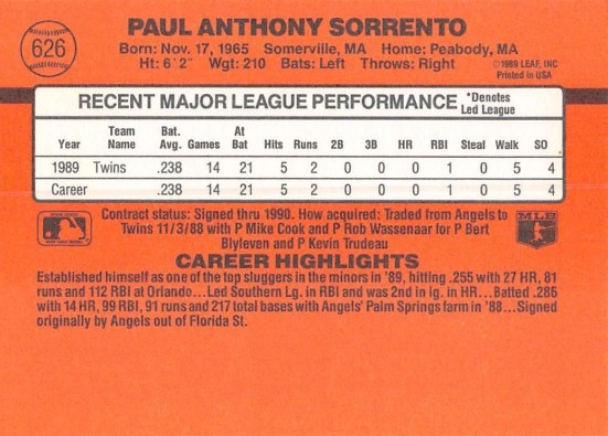 Paul Sorrento Rookie Card