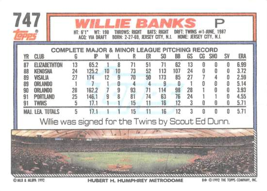 Willie Banks Rookie Card