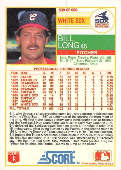 Bill Long Rookie Card