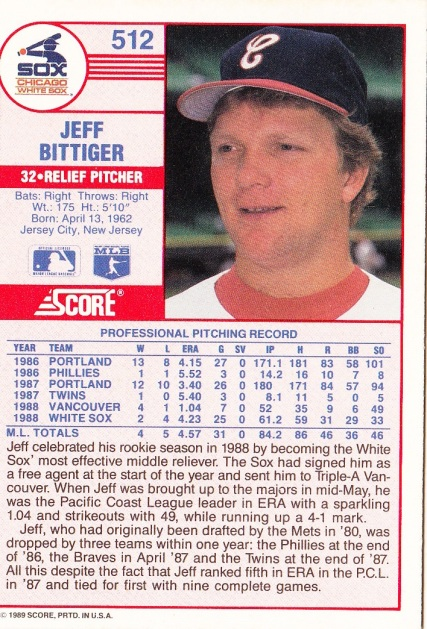 Jeff Bittiger Rookie Card